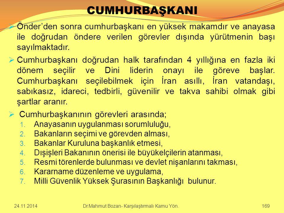 CUMHURBAŞKANI  Önder'den sonra cumhurbaşkanı en yüksek makamdır ve anayasa ile doğrudan öndere verilen görevler dışında yürütmenin başı sayılmaktadır