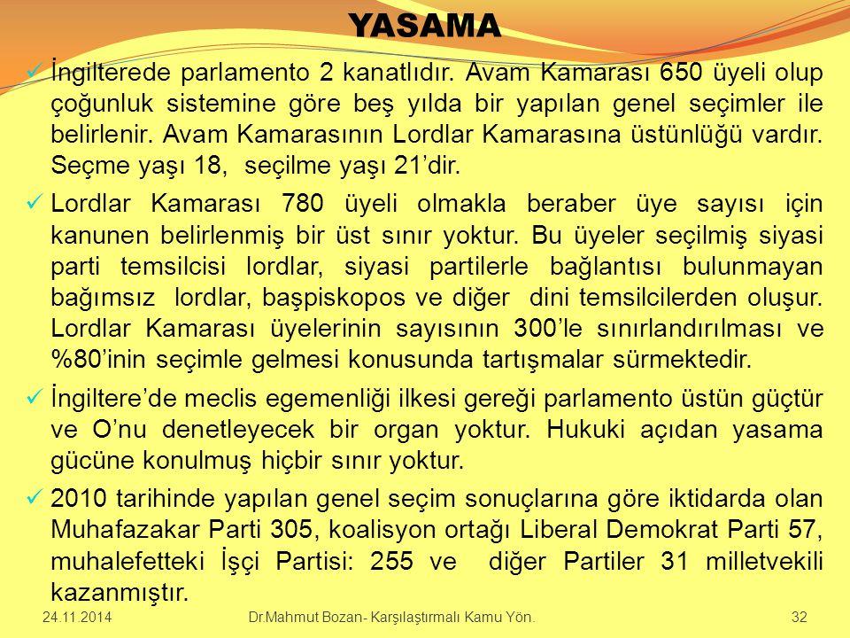 YASAMA İngilterede parlamento 2 kanatlıdır. Avam Kamarası 650 üyeli olup çoğunluk sistemine göre beş yılda bir yapılan genel seçimler ile belirlenir.