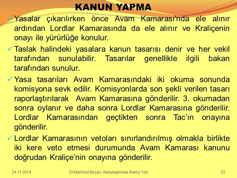 KANUN YAPMA Yasalar çıkarılırken önce Avam Kamarası'nda ele alınır ardından Lordlar Kamarasında da ele alınır ve Kraliçenin onayı ile yürürlüğe konulu