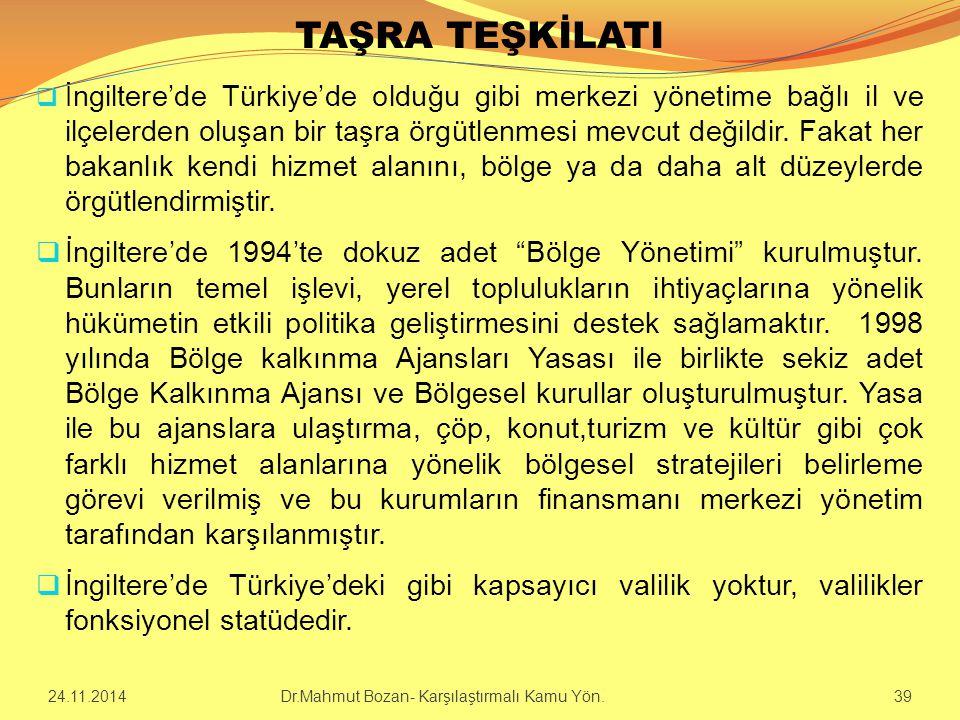 TAŞRA TEŞKİLATI  İ ngiltere'de Türkiye'de olduğu gibi merkezi yönetime bağlı il ve ilçelerden oluşan bir taşra örgütlenmesi mevcut değildir. Fakat he