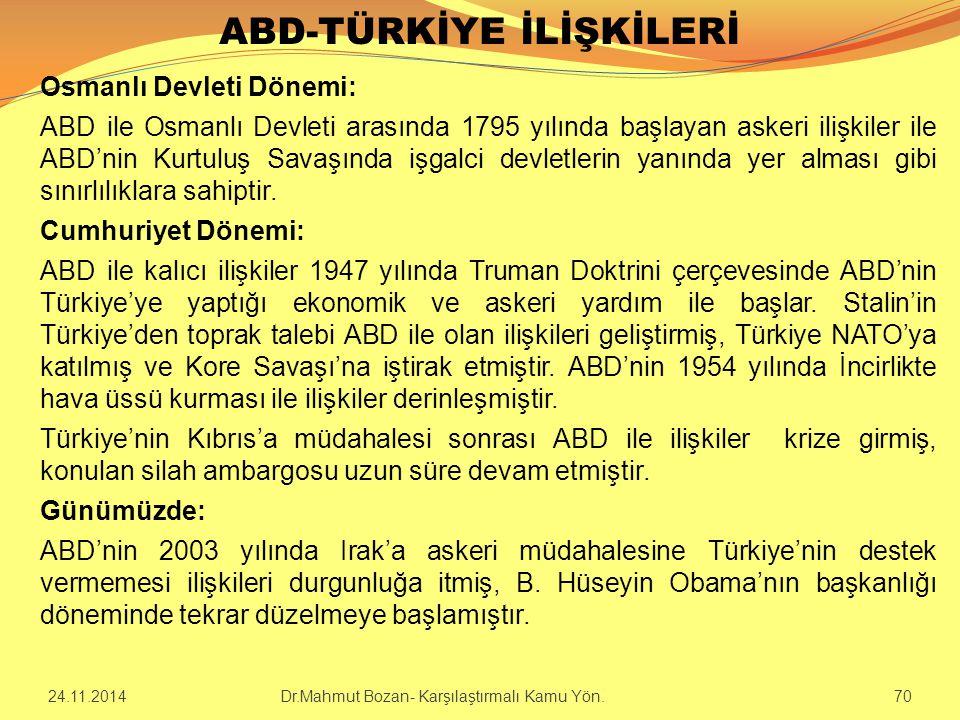 ABD-TÜRKİYE İLİŞKİLERİ Osmanlı Devleti Dönemi: ABD ile Osmanlı Devleti arasında 1795 yılında başlayan askeri ilişkiler ile ABD'nin Kurtuluş Savaşında