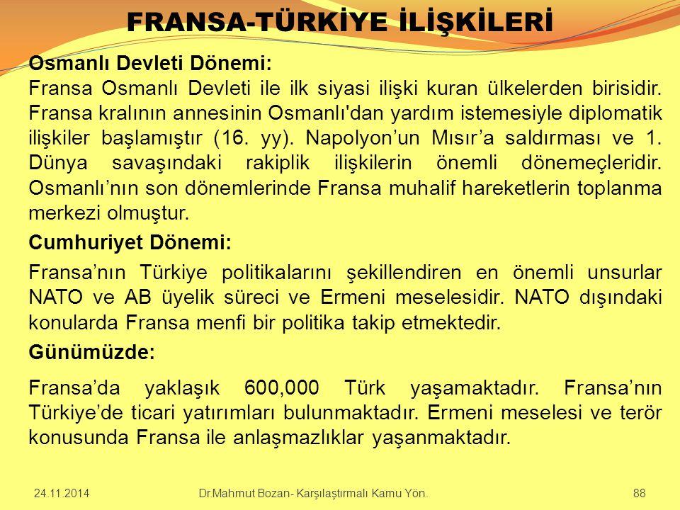 FRANSA-TÜRKİYE İLİŞKİLERİ Osmanlı Devleti Dönemi: Fransa Osmanlı Devleti ile ilk siyasi ilişki kuran ülkelerden birisidir. Fransa kralının annesinin O