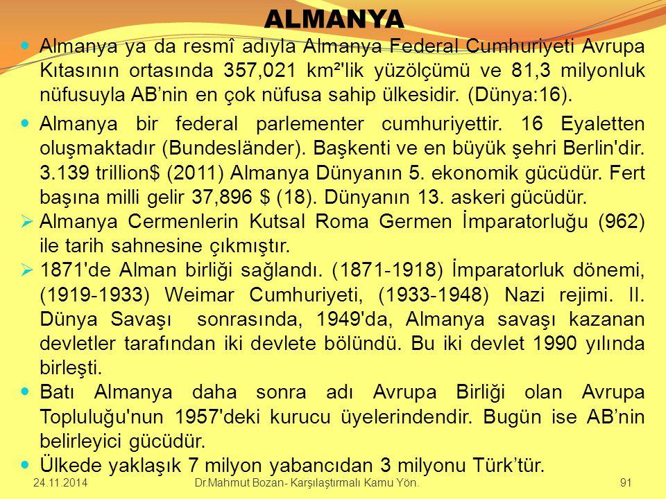 ALMANYA Almanya ya da resmî adıyla Almanya Federal Cumhuriyeti Avrupa Kıtasının ortasında 357,021 km²'lik yüzölçümü ve 81,3 milyonluk nüfusuyla AB'nin
