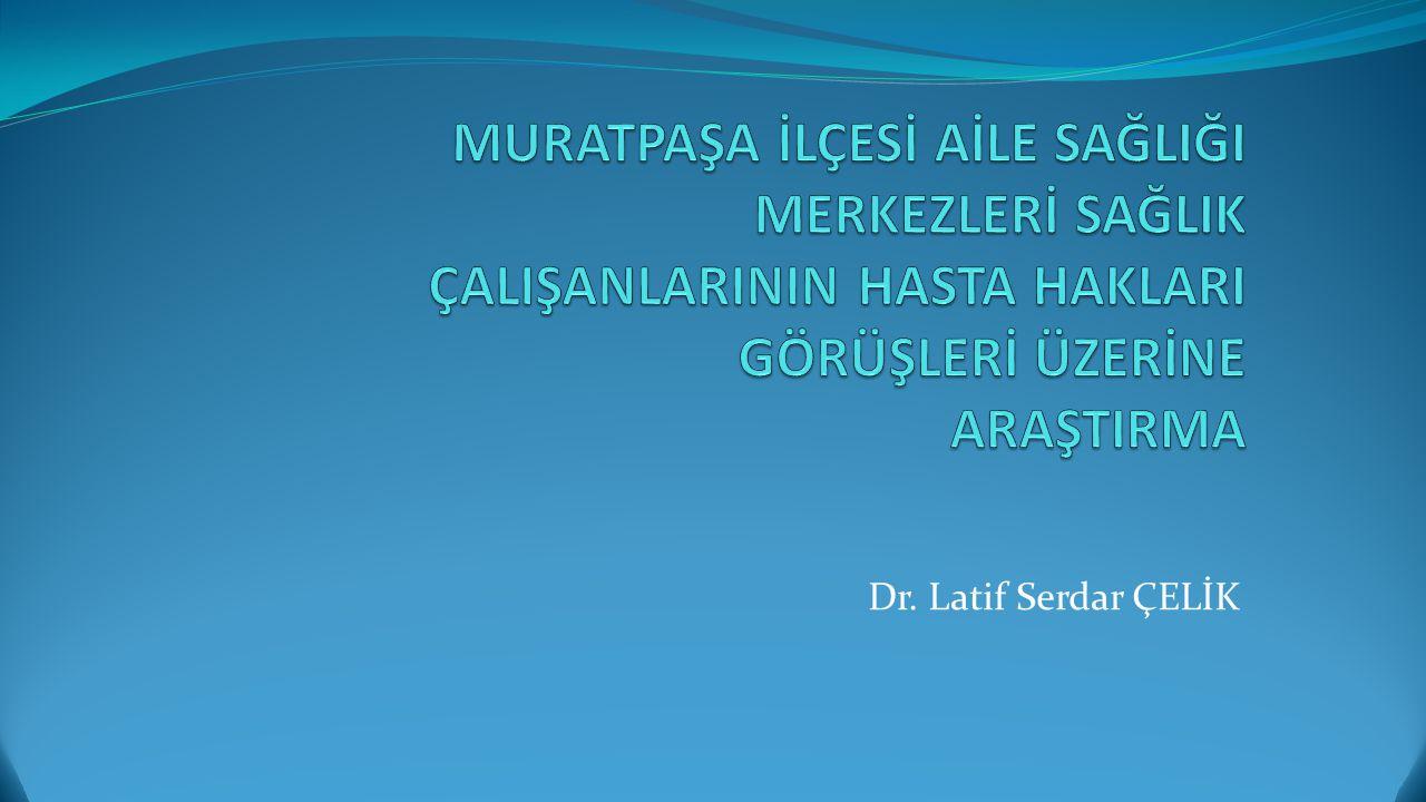 Amaç: Araştırma, Antalya ili Muratpaşa İlçesinde bulunan aile sağlığı merkezlerinde ki sağlık çalışanlarının Hasta Hakları konusundaki görüşlerini belirlemeyi amaçlayan betimleyici, tarama türünde bir alan araştırmasıdır.