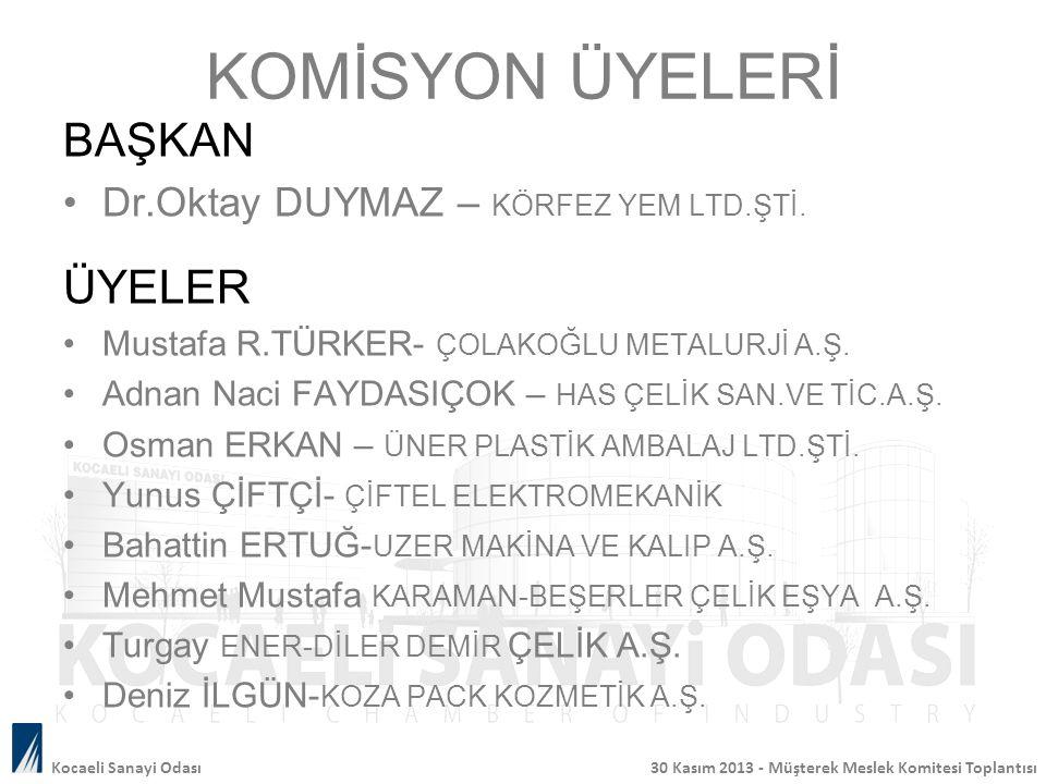 KOMİSYON ÜYELERİ BAŞKAN Dr.Oktay DUYMAZ – KÖRFEZ YEM LTD.ŞTİ.
