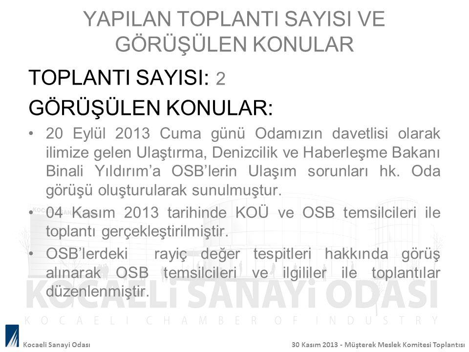YAPILAN TOPLANTI SAYISI VE GÖRÜŞÜLEN KONULAR TOPLANTI SAYISI: 2 GÖRÜŞÜLEN KONULAR: 20 Eylül 2013 Cuma günü Odamızın davetlisi olarak ilimize gelen Ula