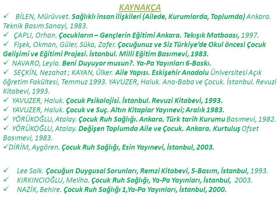 KAYNAKÇA BİLEN, Mürüvvet. Sağlıklı insan ilişkileri (Ailede, Kurumlarda, Toplumda) Ankara. Teknik Basım Sanayi, 1983. ÇAPLI, Orhan. Çocukların – Gençl