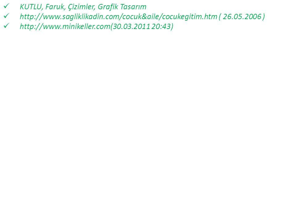 KUTLU, Faruk, Çizimler, Grafik Tasarım http://www.sagliklikadin.com/cocuk&aile/cocukegitim.htm ( 26.05.2006 ) http://www.minikeller.com(30.03.2011 20: