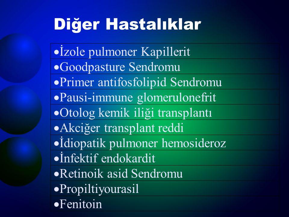 Diğer Hastalıklar  İzole pulmoner Kapillerit  Goodpasture Sendromu  Primer antifosfolipid Sendromu  Pausi-immune glomerulonefrit  Otolog kemik il