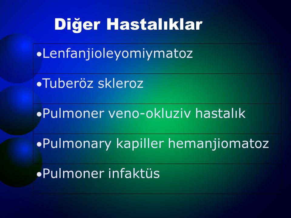 Diğer Hastalıklar Lenfanjioleyomiymatoz Tuberöz skleroz Pulmoner veno-okluziv hastalık Pulmonary kapiller hemanjiomatoz Pulmoner infaktüs