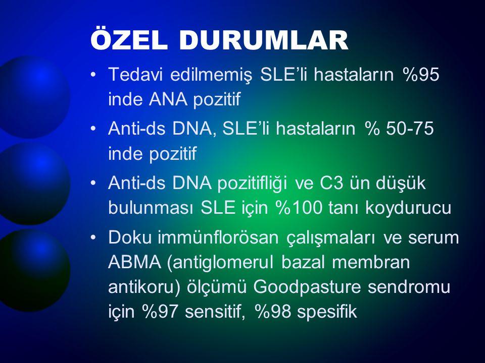 ÖZEL DURUMLAR Tedavi edilmemiş SLE'li hastaların %95 inde ANA pozitif Anti-ds DNA, SLE'li hastaların % 50-75 inde pozitif Anti-ds DNA pozitifliği ve C