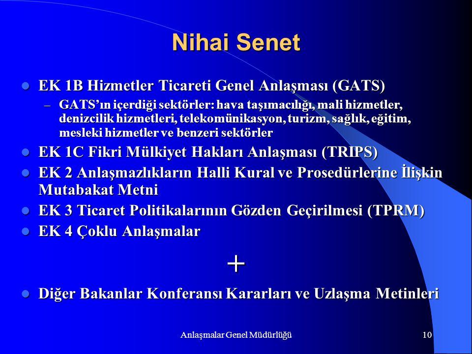 Anlaşmalar Genel Müdürlüğü10 Nihai Senet EK 1B Hizmetler Ticareti Genel Anlaşması (GATS) EK 1B Hizmetler Ticareti Genel Anlaşması (GATS) – GATS'ın içe