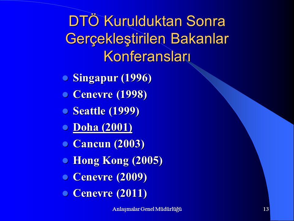 Anlaşmalar Genel Müdürlüğü13 DTÖ Kurulduktan Sonra Gerçekleştirilen Bakanlar Konferansları Singapur (1996) Singapur (1996) Cenevre (1998) Cenevre (199