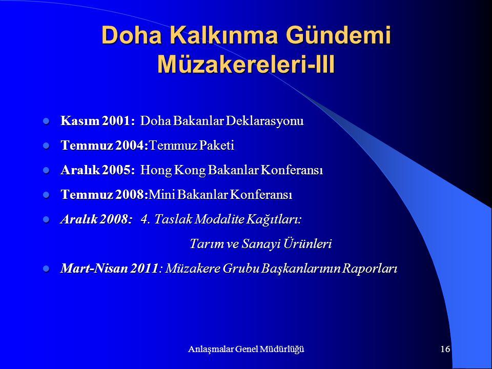 Anlaşmalar Genel Müdürlüğü16 Doha Kalkınma Gündemi Müzakereleri-III Kasım 2001:Doha Bakanlar Deklarasyonu Kasım 2001:Doha Bakanlar Deklarasyonu Temmuz