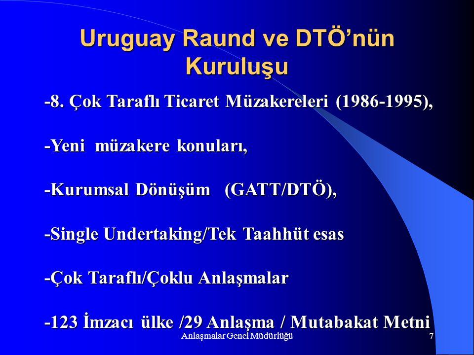 Anlaşmalar Genel Müdürlüğü7 Uruguay Raund ve DTÖ'nün Kuruluşu -8. Çok Taraflı Ticaret Müzakereleri (1986-1995), -Yeni müzakere konuları, -Kurumsal Dön