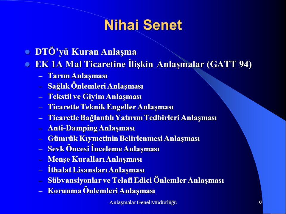Anlaşmalar Genel Müdürlüğü9 Nihai Senet DTÖ'yü Kuran Anlaşma DTÖ'yü Kuran Anlaşma EK 1A Mal Ticaretine İlişkin Anlaşmalar (GATT 94) EK 1A Mal Ticareti