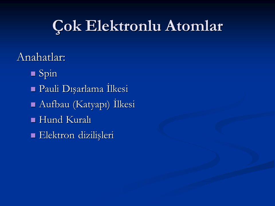 Katyon Elektron Dizilişi Co 27 e – 1s 2 2s 2 2p 6 3s 2 3p 6 4s 2 3d 7 Co 2+ 25 e – Elektronlar en büyük n değerine sahip orbitalden ayrılır.