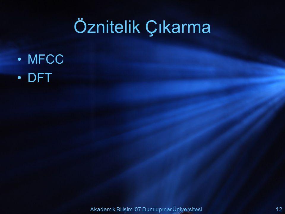 Akademik Bilişim '07 Dumlupınar Üniversitesi12 Öznitelik Çıkarma MFCC DFT