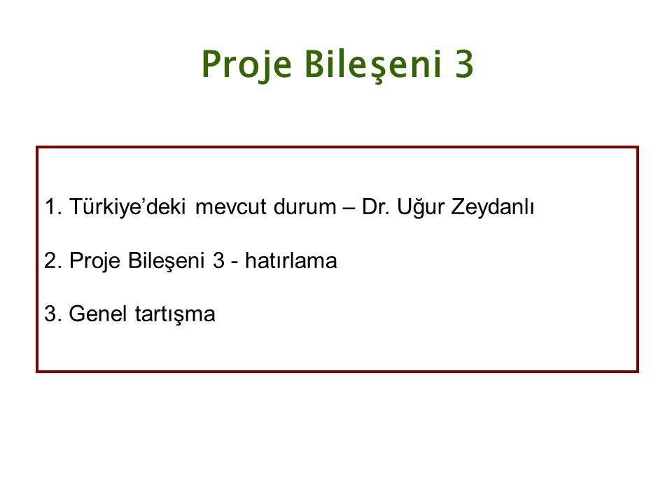 Proje Bileşeni 3 1.Türkiye'deki mevcut durum – Dr. Uğur Zeydanlı 2.Proje Bileşeni 3 - hatırlama 3. Genel tartışma