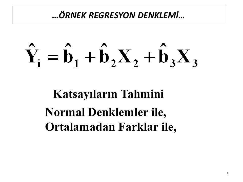 …ÖRNEK REGRESYON DENKLEMİ… Katsayıların Tahmini Normal Denklemler ile, Ortalamadan Farklar ile, 3