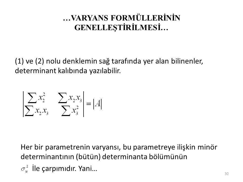Sapmalar biçiminde yazılmış iki açıklayıcı değişkenli modelin normal denklemleri şöyledir. (2) Parantez içindeki terimler, örnek gözlemlerinden hesapl
