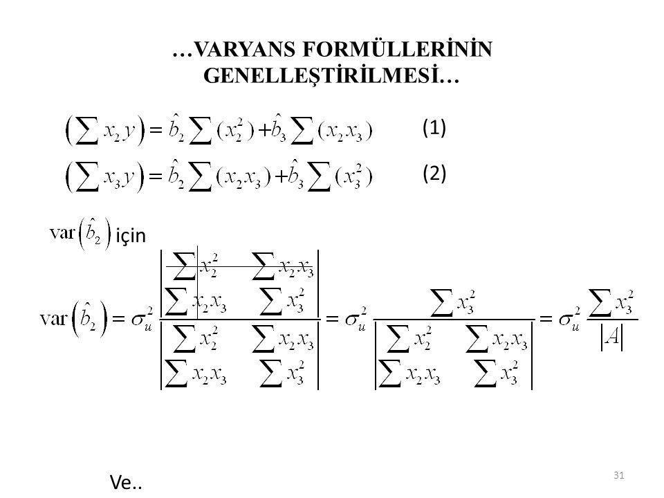 …VARYANS FORMÜLLERİNİN GENELLEŞTİRİLMESİ… (1) ve (2) nolu denklemin sağ tarafında yer alan bilinenler, determinant kalıbında yazılabilir. Her bir para