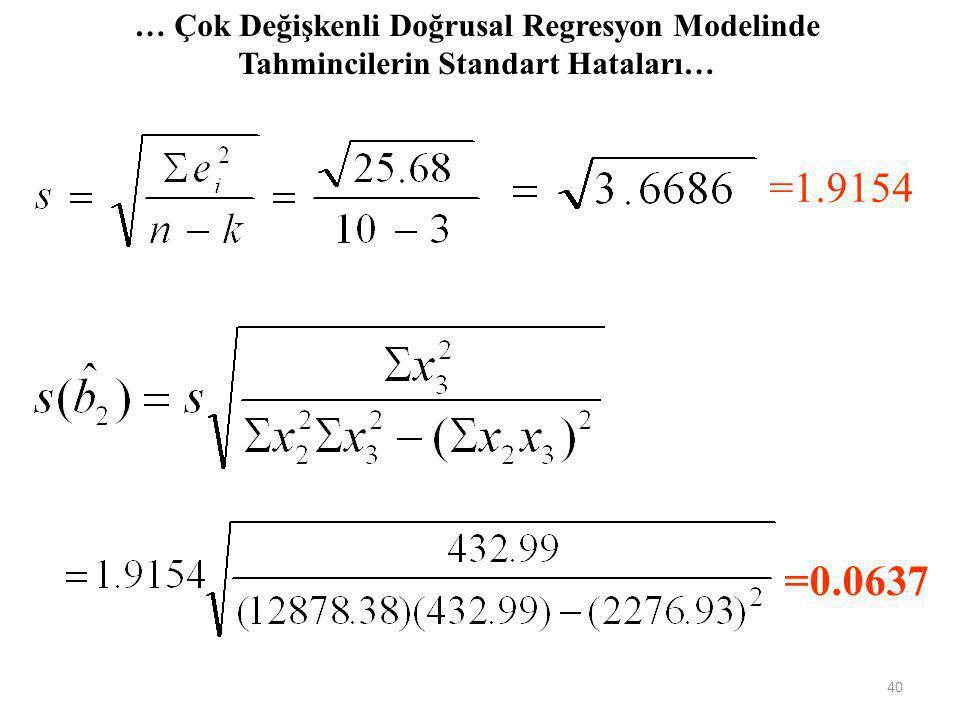 …Çok Değişkenli Doğrusal Regresyon Modelinde Tahminin Standart Hatası… Tütün Y 59.20 65.40 62.30 64.70 67.40 64.40 68.00 73.40 75.70 70.70 Gelir X 2 7