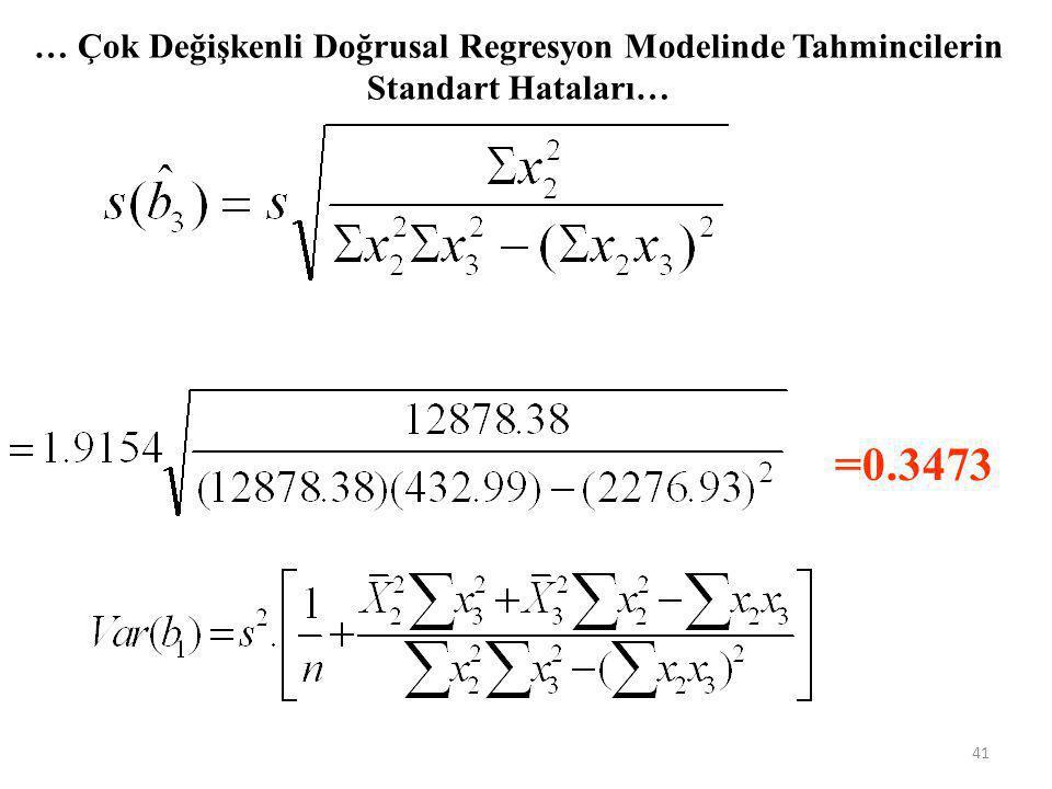 … Çok Değişkenli Doğrusal Regresyon Modelinde Tahmincilerin Standart Hataları… =1.9154 =0.0637 40
