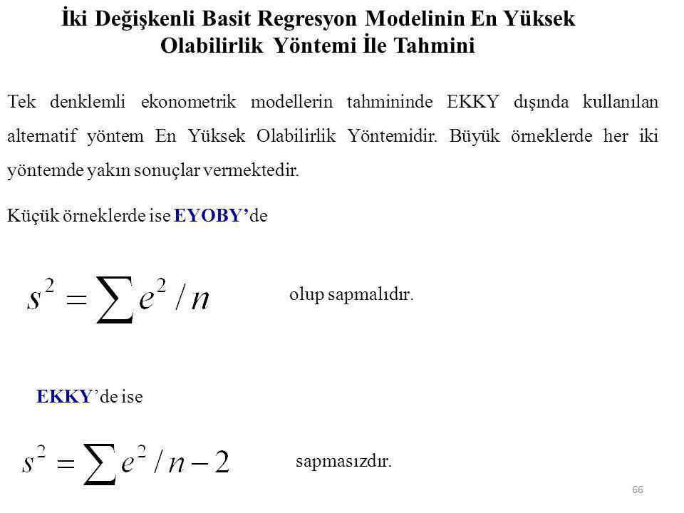 Y i 'lerin olasılık yoğunluk fonksiyonları f(Y i ) fonksiyonu ile ifade edilebilir. X Y XiXi b1b1 b 1 + b 2 X i Y = b 1 + b 2 X 65