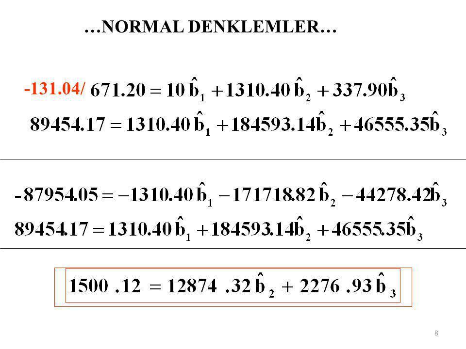 KATSAYI TAHMİNLERİNİN VARYANS FORMÜLLERİNİN GENELLEŞTİRİLMESİ… 1) Tek açıklayıcı değişkenli model 2) İki açıklayıcı değişkenli model Bu ifadeler determinantla şöyle yazılabilir.