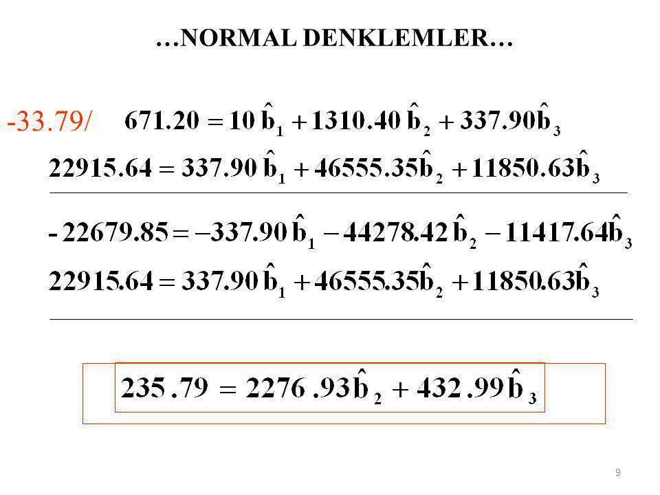 …NORMAL DENKLEMLER… -33.79/ 9