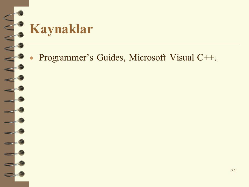 Kaynaklar  Programmer's Guides, Microsoft Visual C++. 31