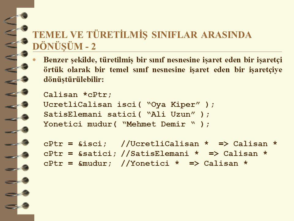 SANAL FONKSİYONLAR (örnek)  Program çıktısı: Temel sinif – sanalFonk Turetilmis sinif1 – sanalFonk Turetilmis sinif2 – sanalFonk  Normal yolla sanal fonksiyon çağrımı: d2.sanalFonk; // turetilmis2::sanalFonk