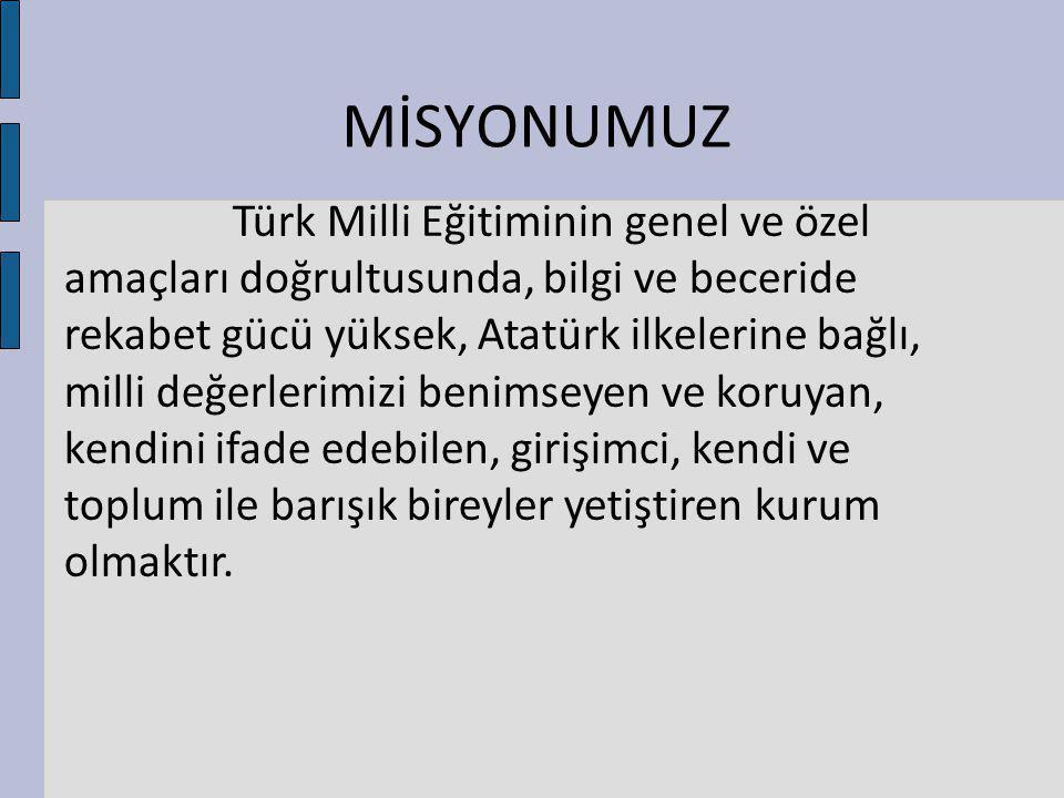 MİSYONUMUZ Türk Milli Eğitiminin genel ve özel amaçları doğrultusunda, bilgi ve beceride rekabet gücü yüksek, Atatürk ilkelerine bağlı, milli değerler