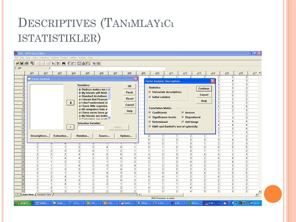 D ESCRIPTIVES (T ANıMLAYıCı ISTATISTIKLER )
