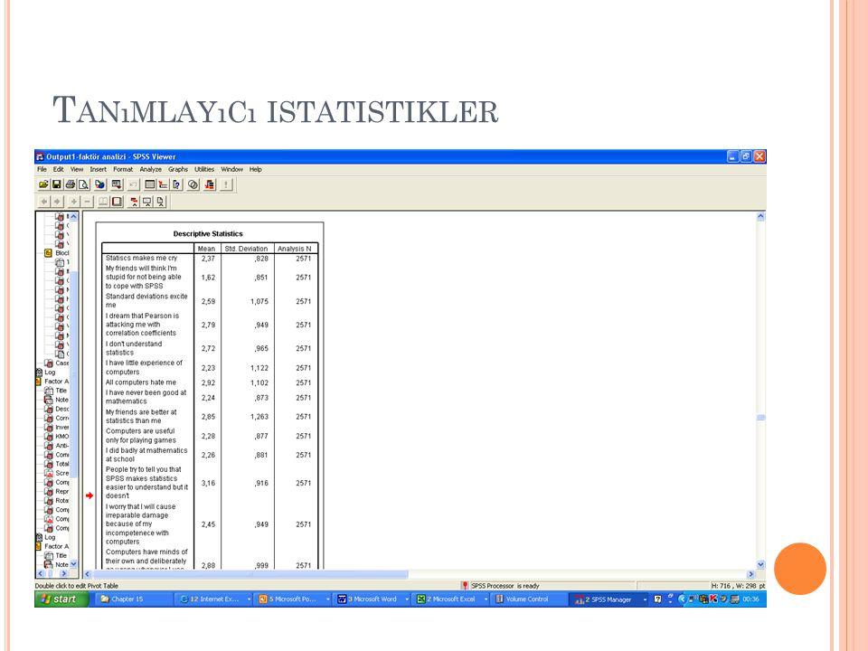 T ANıMLAYıCı ISTATISTIKLER