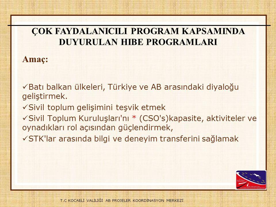 T.C KOCAELİ VALİLİĞİ AB PROJELER KOORDİNASYON MERKEZİ Batı balkan ülkeleri, Türkiye ve AB arasındaki diyaloğu geliştirmek. Sivil toplum gelişimini teş