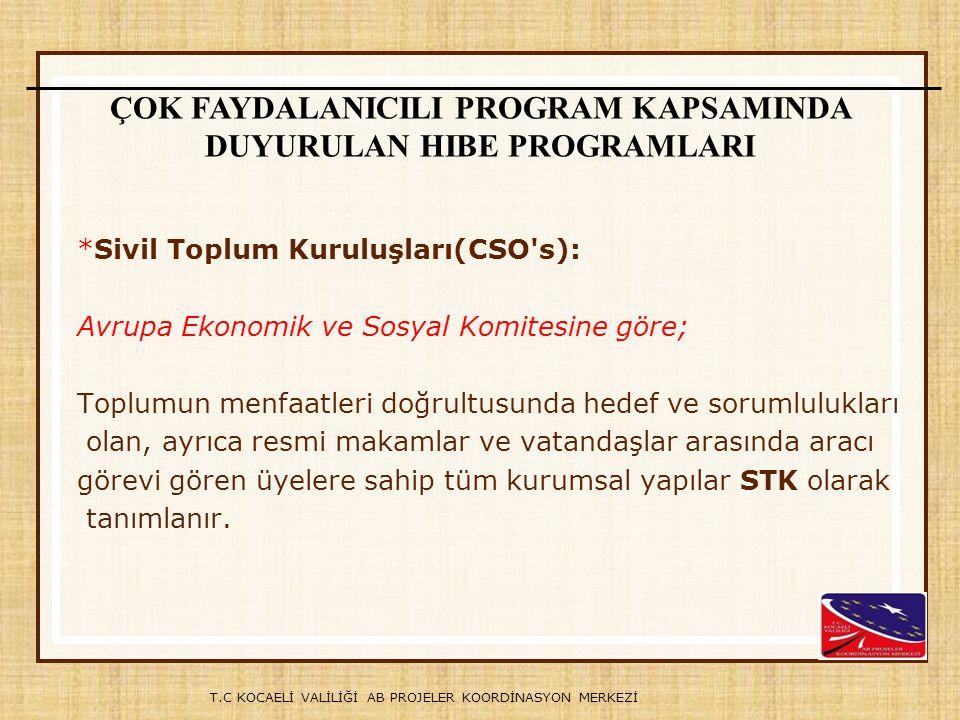 T.C KOCAELİ VALİLİĞİ AB PROJELER KOORDİNASYON MERKEZİ Örneğin, Türkiye'den bir kuruluş; AB üyesi ülkelerden en az bir kuruluş ve Arnavutluk, Bosna-Hersek, Hırvatistan, Karadağ, Kosova, Makedonya ve Sırbistan gibi ülkelerden en az üç farklı ülkeden üç ortak kuruluş ile birlikte başvuru yapmak zorundadır.