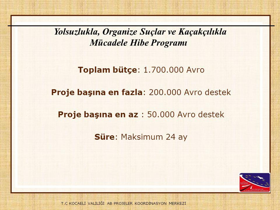 T.C KOCAELİ VALİLİĞİ AB PROJELER KOORDİNASYON MERKEZİ Toplam bütçe: 1.700.000 Avro Proje başına en fazla: 200.000 Avro destek Proje başına en az : 50.