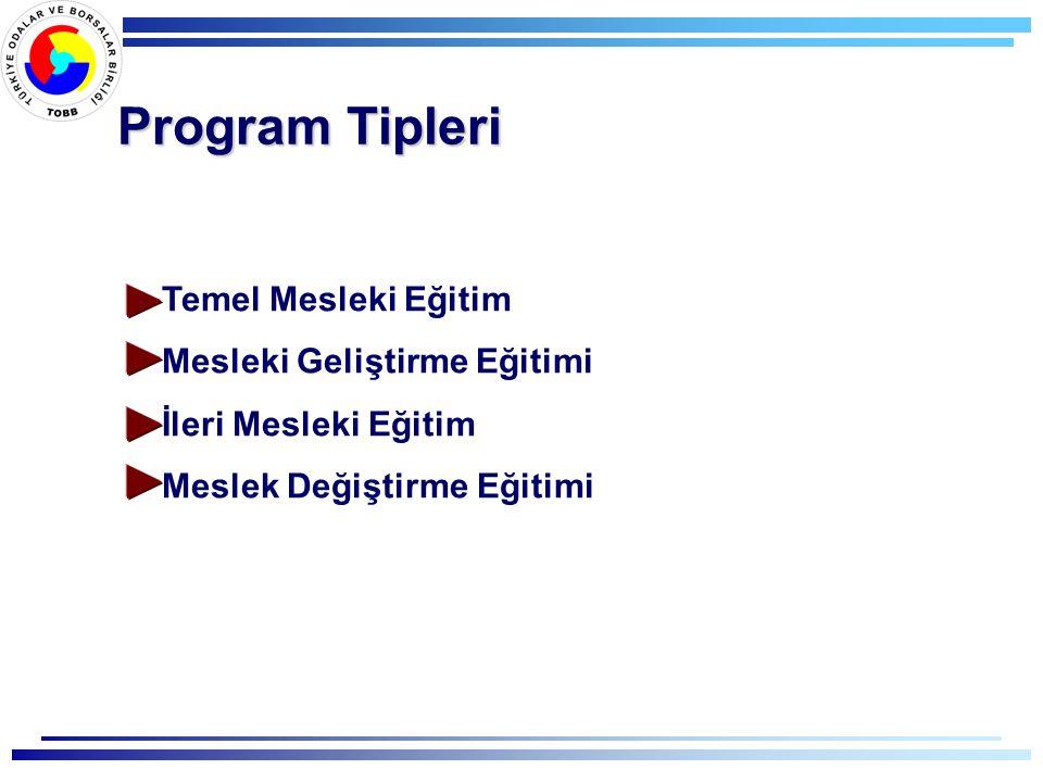 Program Tipleri Temel Mesleki Eğitim Mesleki Geliştirme Eğitimi İleri Mesleki Eğitim Meslek Değiştirme Eğitimi