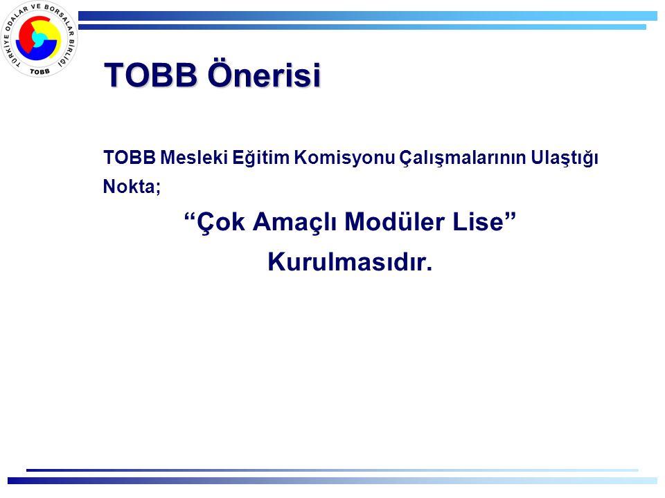 TOBB Önerisi TOBB Mesleki Eğitim Komisyonu Çalışmalarının Ulaştığı Nokta; Çok Amaçlı Modüler Lise Kurulmasıdır.