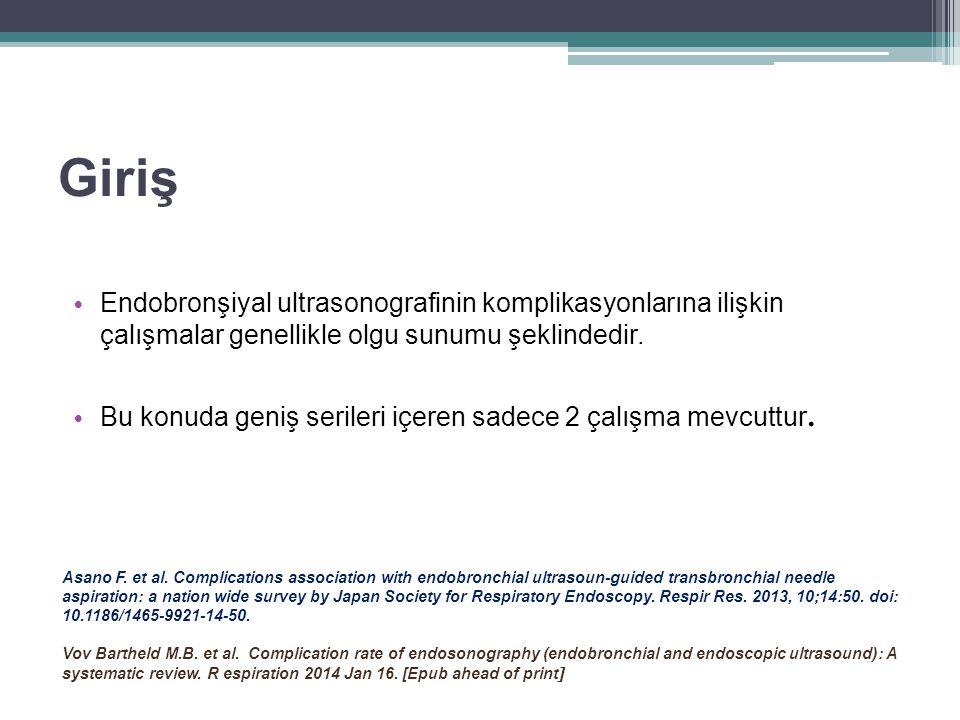 Amaç Ülkemizde 2000'li yılların sonlarında uygulanmaya başlanan EBUS- TBİA'ya ilişkin bugüne kadar bir çok çalışma yayınlanmış olmakla birlikte, işlemin komplikasyonları ile ilgili araştırma makalesi yoktur.