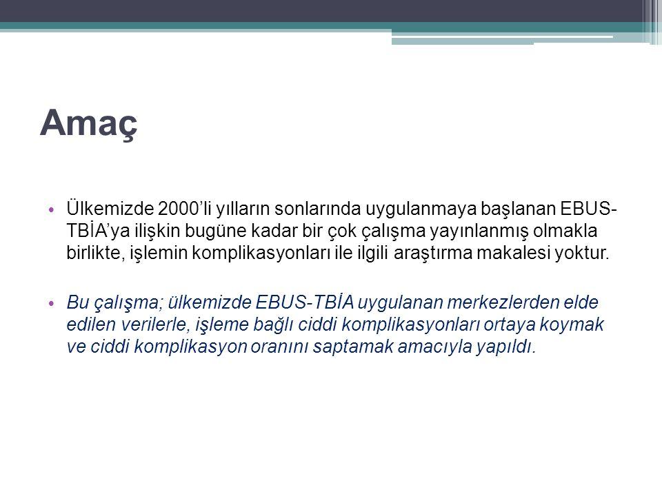 Yöntemler Çok merkezli, retrospektif Çalışmaya katılan merkezler ▫ Atatürk Göğüs Hastalıkları ve Göğüs Cerrahisi Eğitim ve Araştırma Hastanesi, Göğüs Hastalıkları Kliniği ▫ Dr.Lütfi Kırdar Kartal Eğitim ve Araştırma Hastanesi, Göğüs Hastalıkları Kliniği ▫ Dr.Suat Seren Göğüs Hastalıkları ve Cerrahisi Eğitim ve Araştırma Hastanesi, Göğüs Hastalıkları Kliniği Çalışma periyodu: Ekim 2008 – Ocak 2014 Her merkeze 15 soru içeren çalışma formu gönderildi.