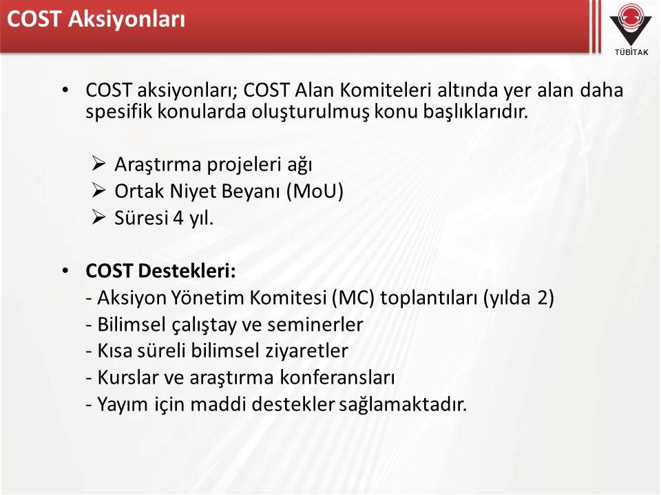 TÜBİTAK COST Aksiyonları COST aksiyonları; COST Alan Komiteleri altında yer alan daha spesifik konularda oluşturulmuş konu başlıklarıdır.  Araştırma