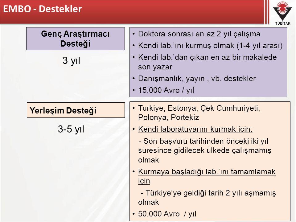 TÜBİTAK EMBO - Destekler 3-5 yıl 3 yıl Yerleşim Desteği Turkiye, Estonya, Çek Cumhuriyeti, Polonya, Portekiz Kendi laboratuvarını kurmak icin: - Son b