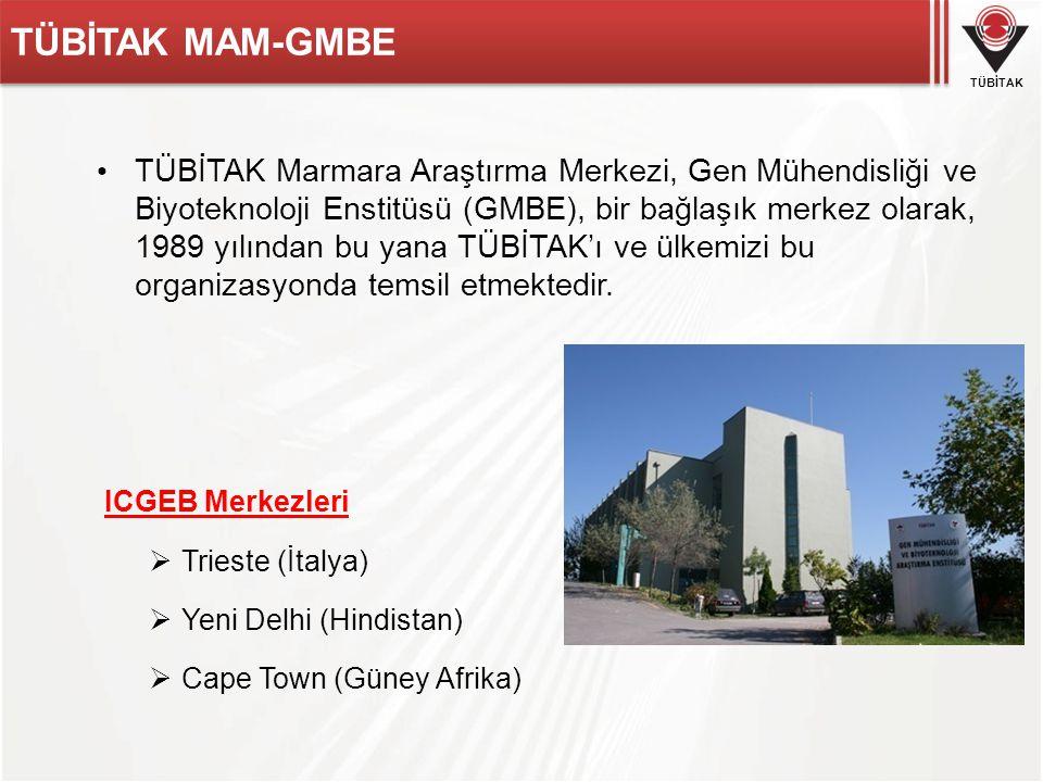 TÜBİTAK TÜBİTAK MAM-GMBE TÜBİTAK Marmara Araştırma Merkezi, Gen Mühendisliği ve Biyoteknoloji Enstitüsü (GMBE), bir bağlaşık merkez olarak, 1989 yılın