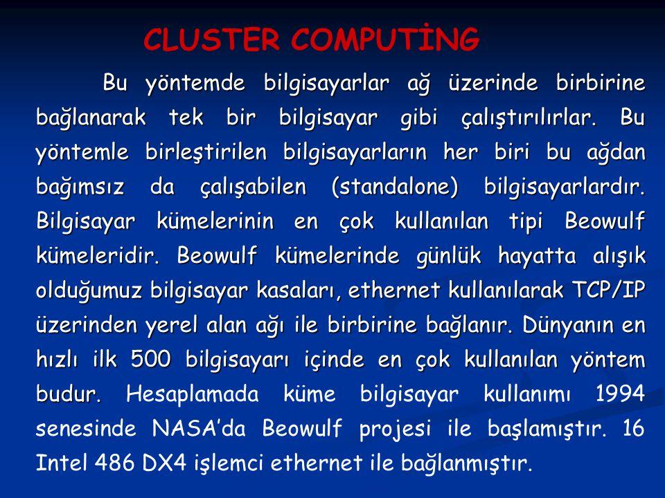Yüksek performanslı hesaplama, artık küme bilgisayarlarla hesaplama halini almıştır.