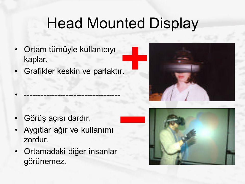Head Mounted Display Ortam tümüyle kullanıcıyı kaplar. Grafikler keskin ve parlaktır. ----------------------------------- Görüş açısı dardır. Aygıtlar