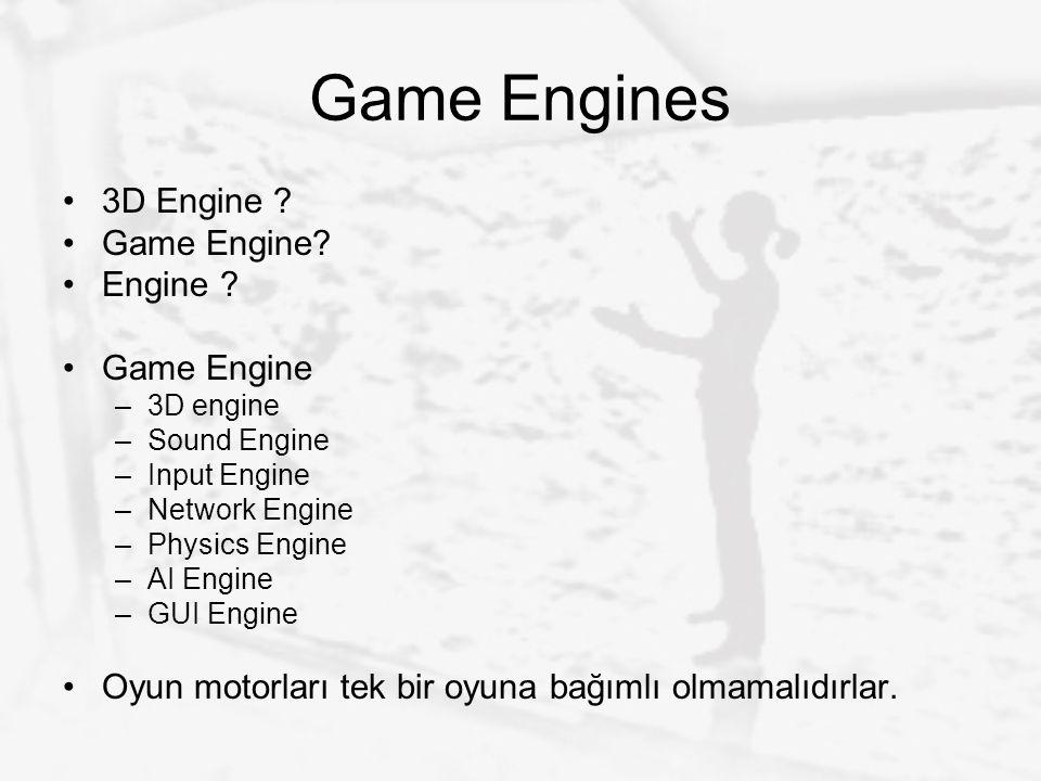 Game Engines 3D Engine ? Game Engine? Engine ? Game Engine –3D engine –Sound Engine –Input Engine –Network Engine –Physics Engine –AI Engine –GUI Engi