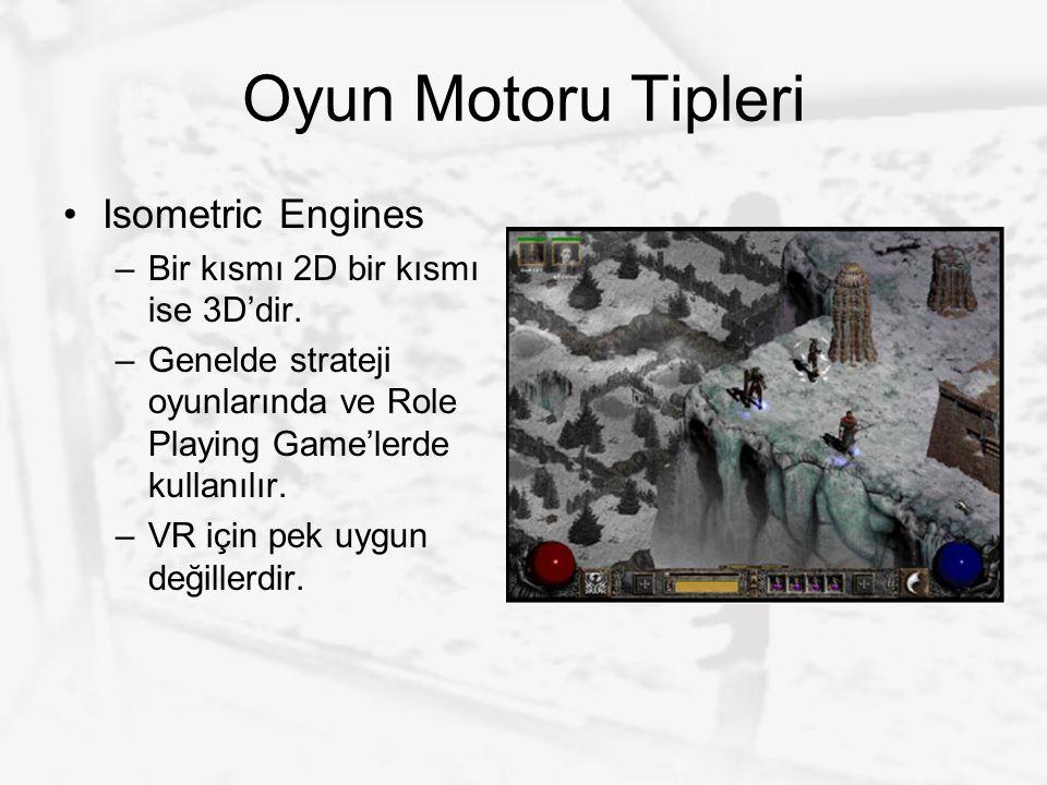 Oyun Motoru Tipleri Isometric Engines –Bir kısmı 2D bir kısmı ise 3D'dir. –Genelde strateji oyunlarında ve Role Playing Game'lerde kullanılır. –VR içi